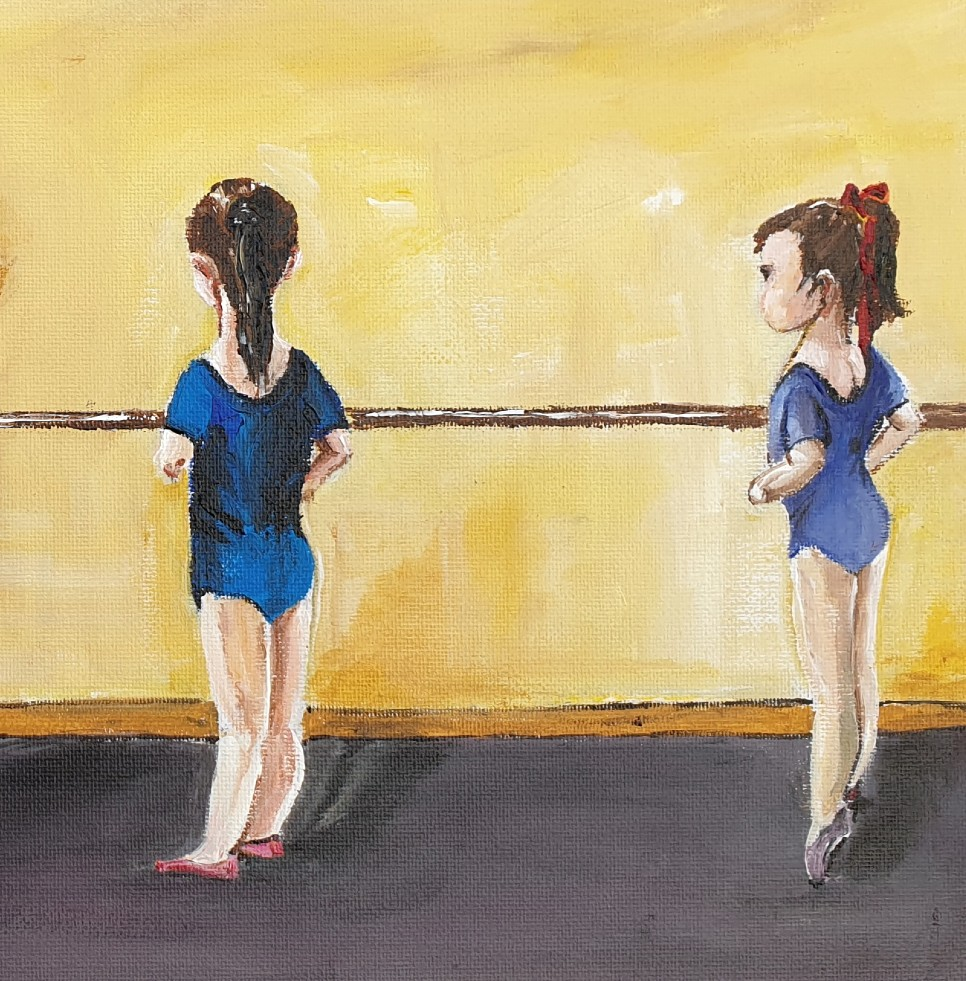 Toddlers in a ballet room.  Decoration of kids rooms.